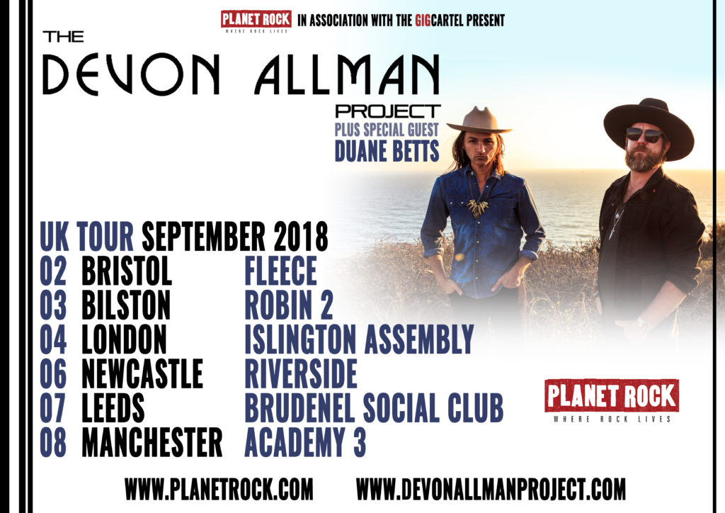 image of tour poster for Devon Allman and Duane Betts September 2018 UK Tour