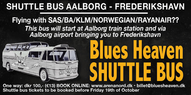 image of advert for bus service from Aalborg airport to Frederikshavn for Blues Heaven Festival, Denmark