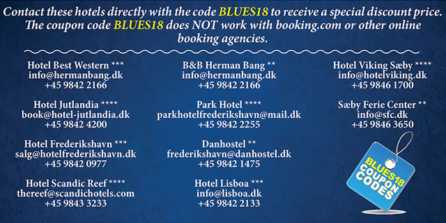 image of promo poster for Blues Heaven Festival in Denmark, quote Blues18 to receive additional discounts