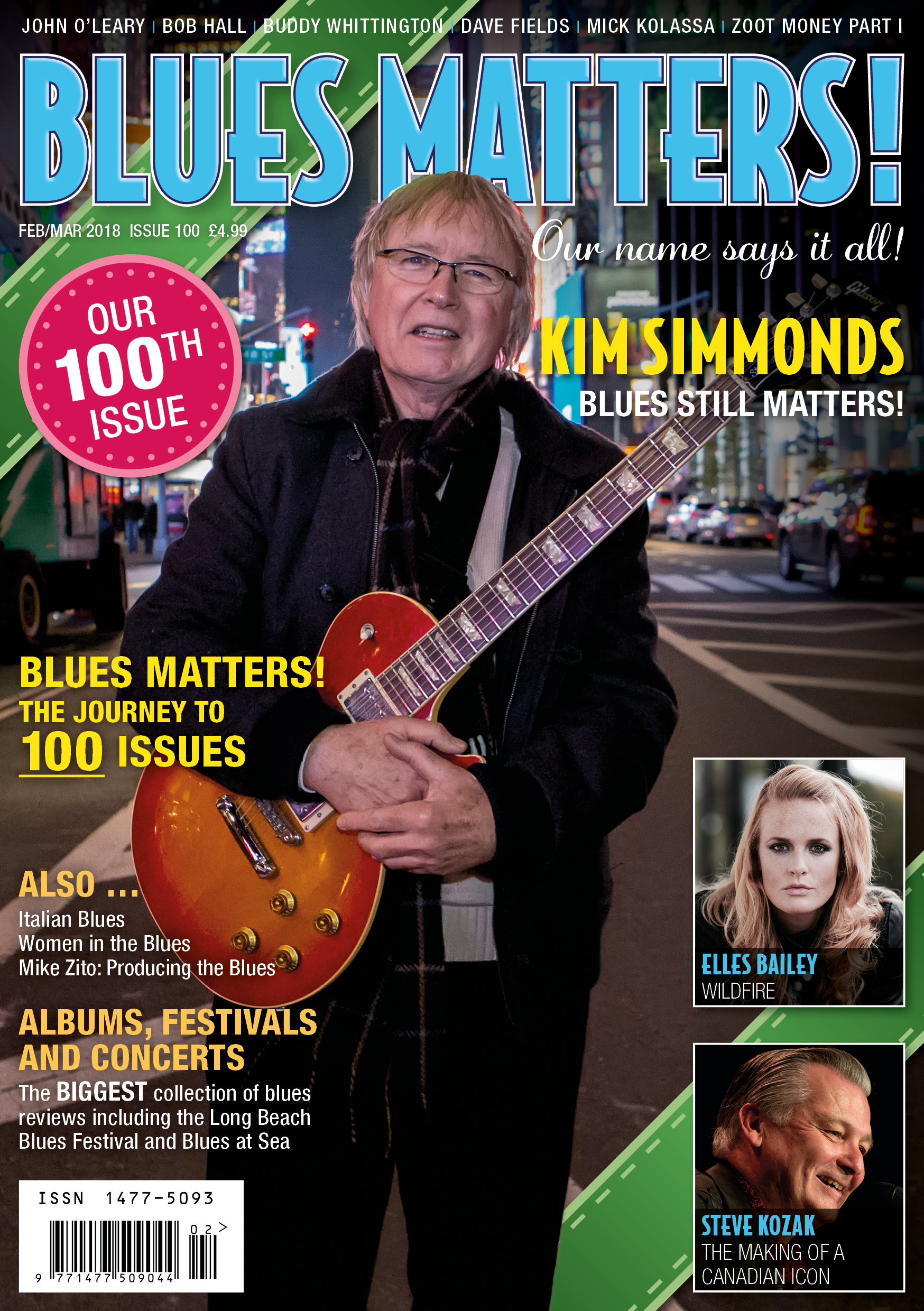 image of the 100th cover for Blues Matters magazine