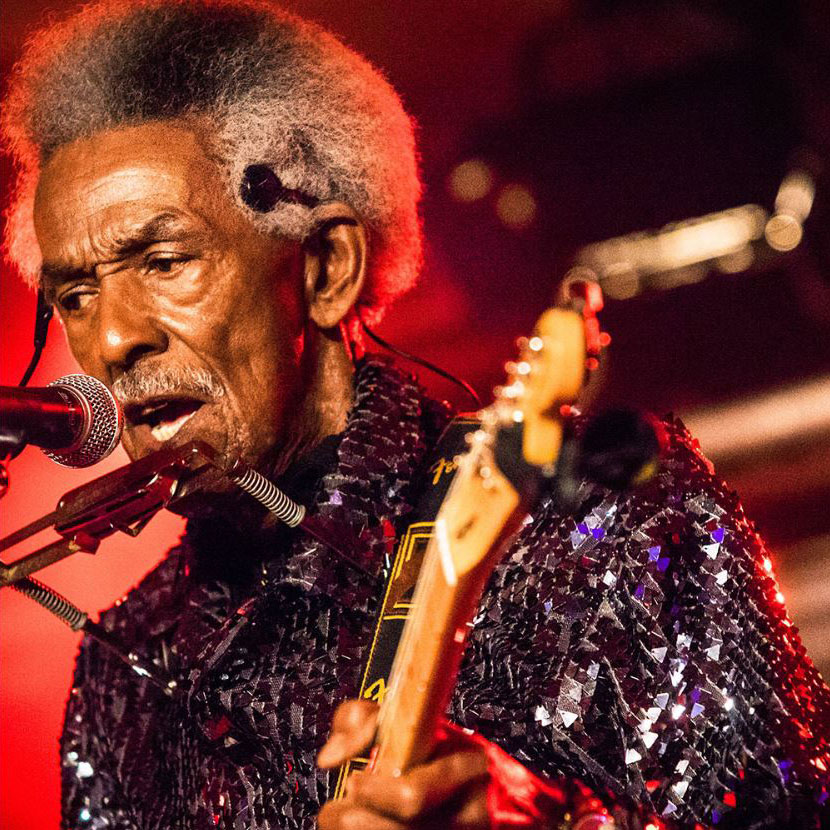 image of Lil' Jimmy Reed singing on stage