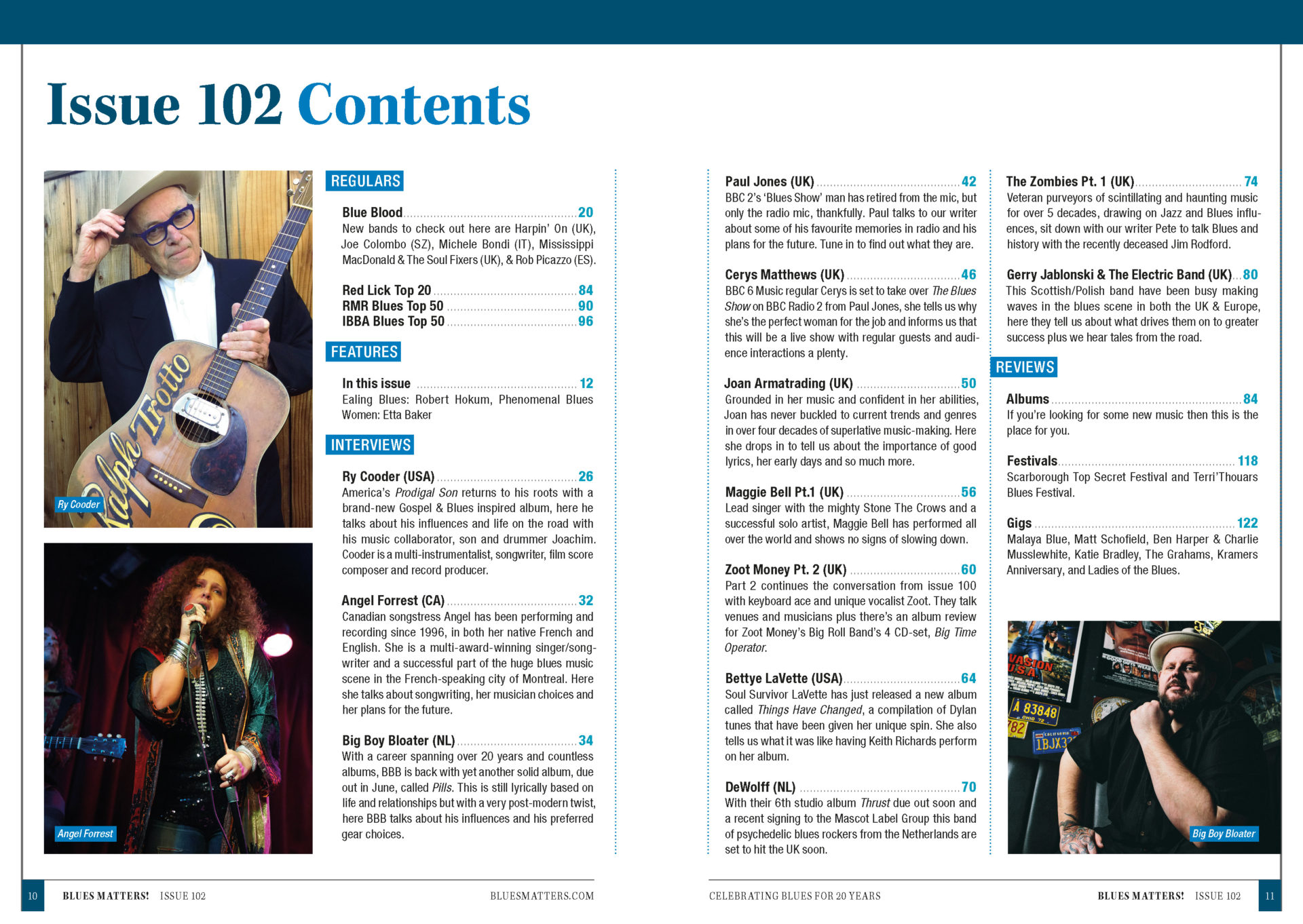 image of the contents page for Blues Matters magazine issue 102