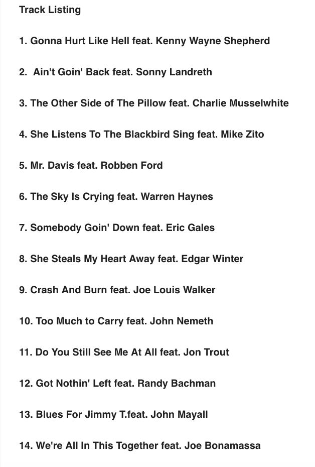 Image of Track Listing for Walter Trout's new album We're In This Together