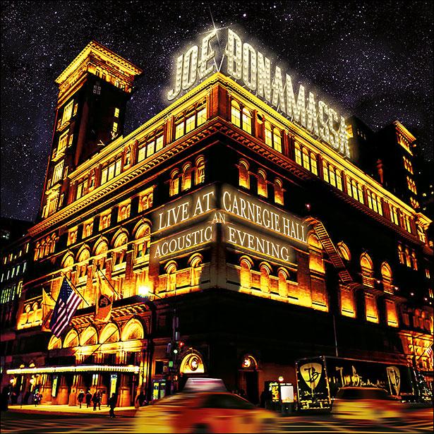 image of Carnegie Hall, New York with Joe Bonamassa's name in lights