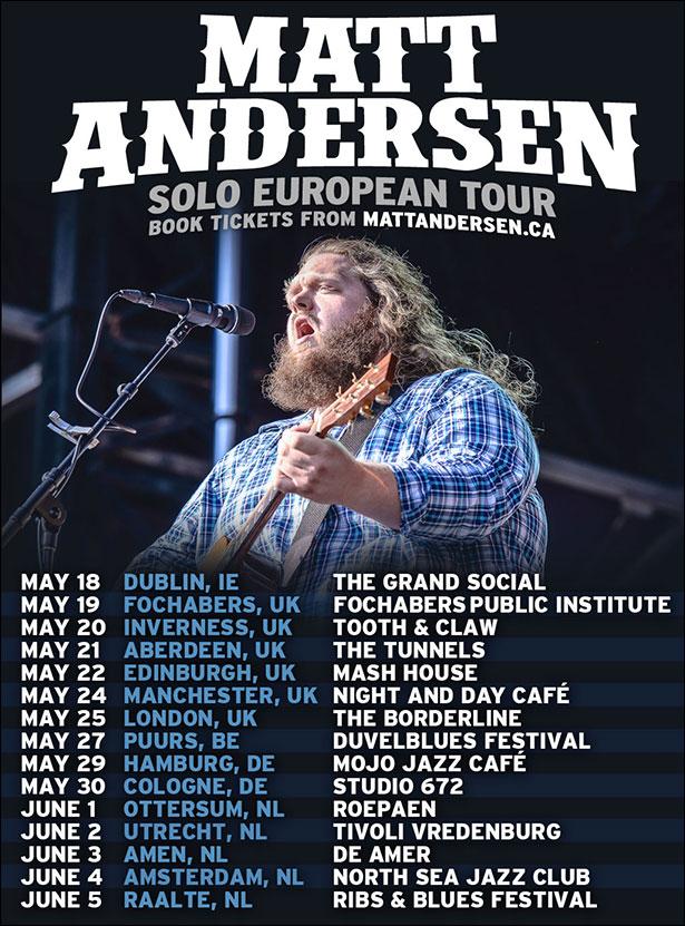 Poster with dates for Matt Andersen UK & European Tour 2017