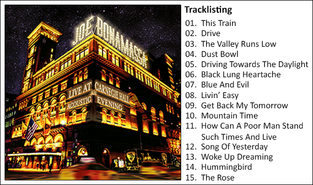 image of Tracks listing from Live at Carnegie Hall album