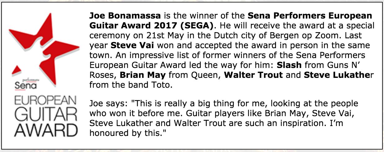 promo poster for Joe Bonamassa Sena Performers European Guitar Award 2017