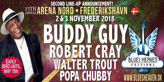 image of promo poster announcing Buddy Guy, Robert Cray, Walter Trout & Popa Chubby for Blues Heaven Festival in Denmark