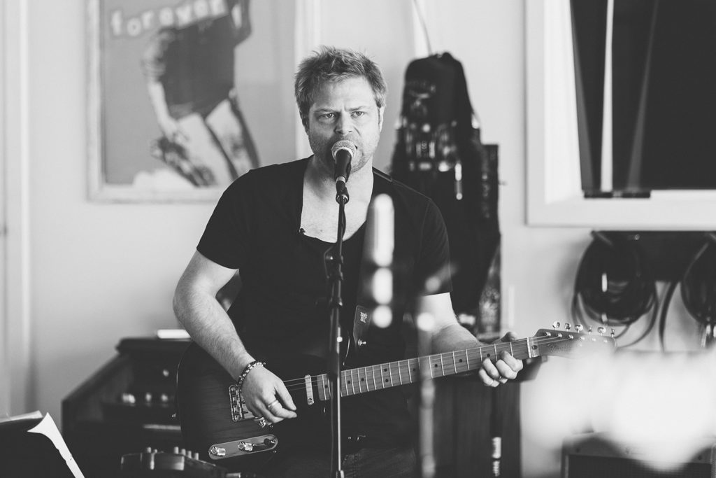 Black & White image Felix Bechtolsheimer from Curse of Lono band for Blues Matters interview