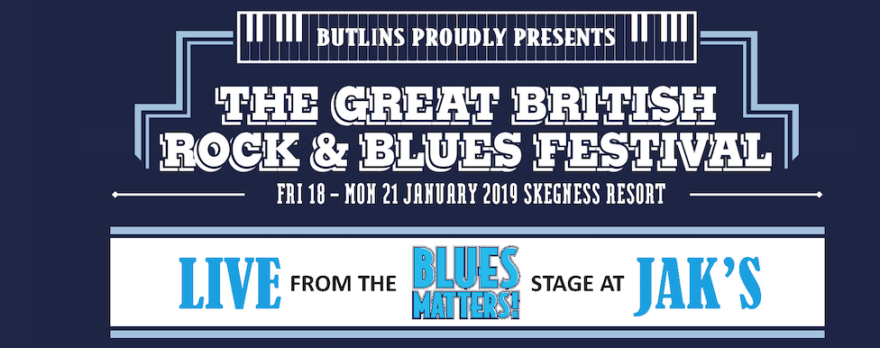 image of banner for Blues Matters stage at Jaks stage at Butlins, skegness, January 2019