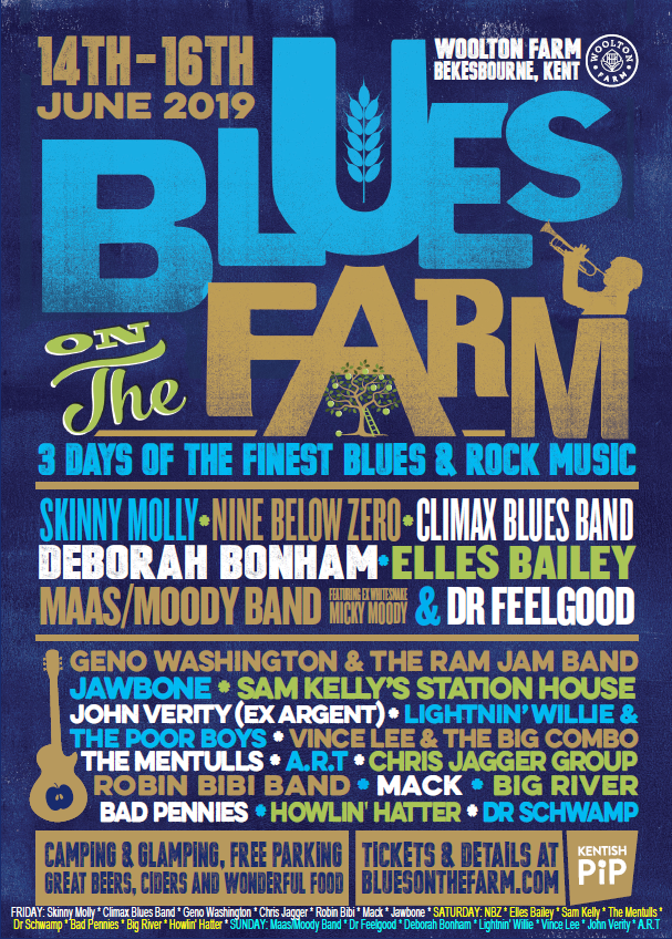 poster image for Blues on the Farm festival, Kent, June 14th - 16th 2019