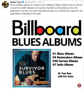 image of walter trout twitter post about being number 1 on the billboard charts