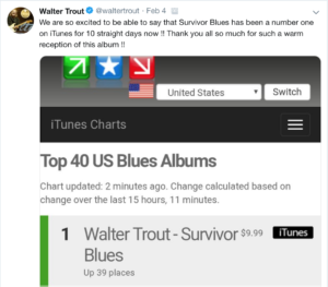 image of walter trout's twitter post saying he's been number 1 for 10 days straight with his survivor blues album