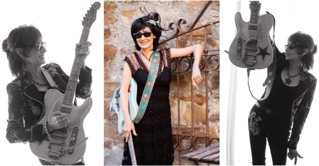 set of 3 images of singer/guitarist rosie flores