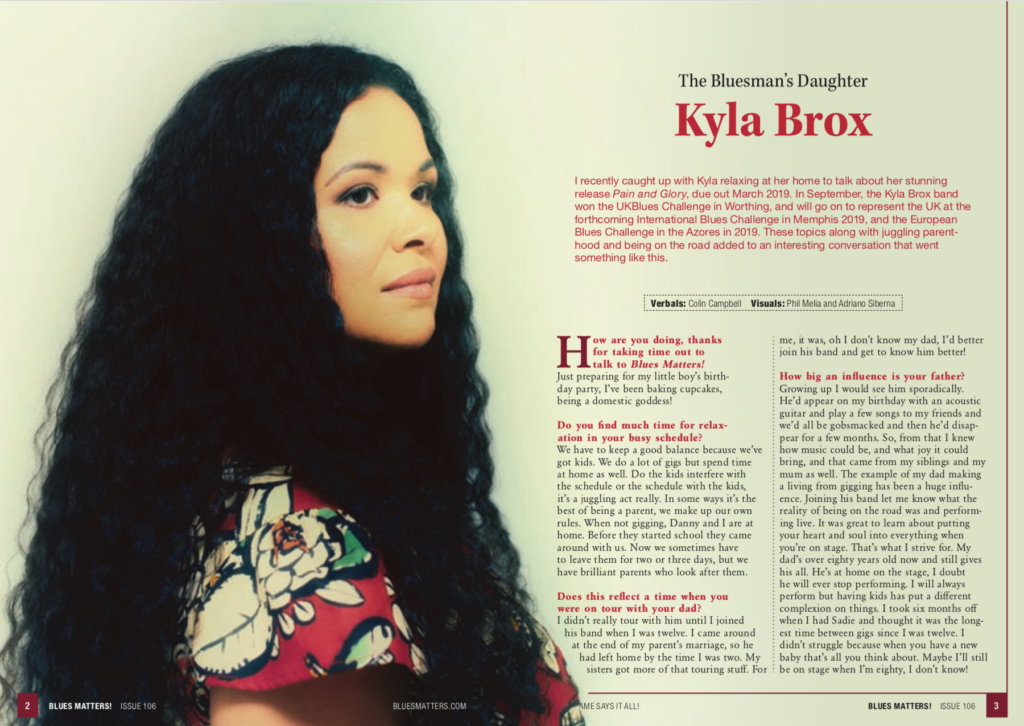 image of kyla brox interview in blues matters magazine