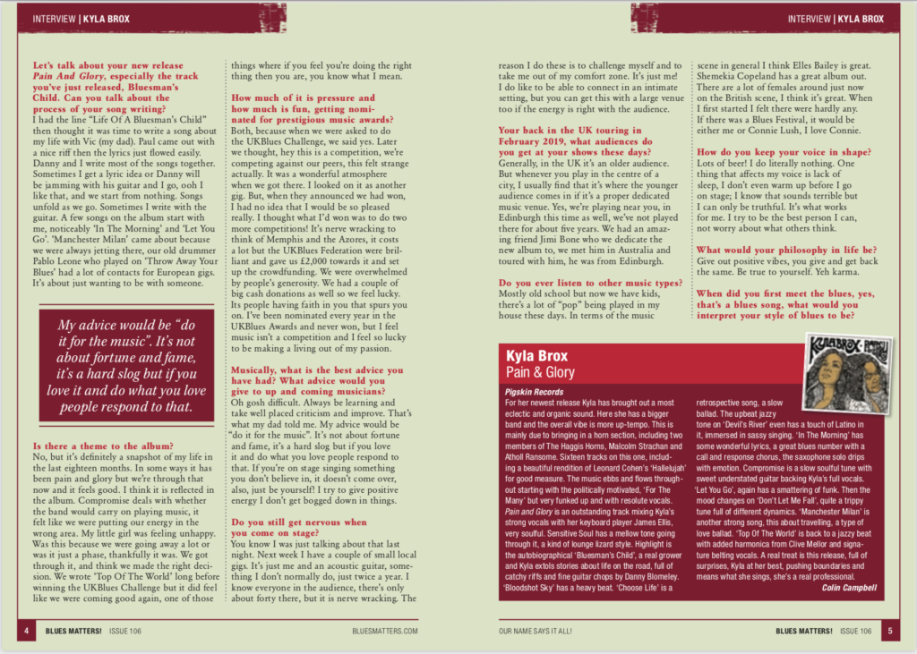 image of klya brox interview in issue 106 of blues matters magazine