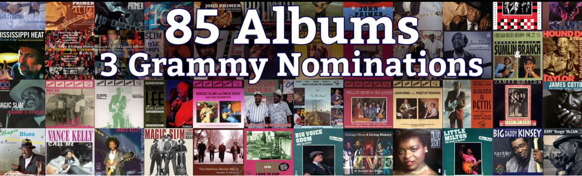 image of banner saying john primer has 85 albums and 3 grammy nominations