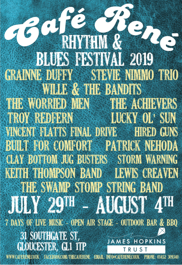 image of poster for Cafe Rene rhythm and blues festival on July 29th - August 4th 2019
