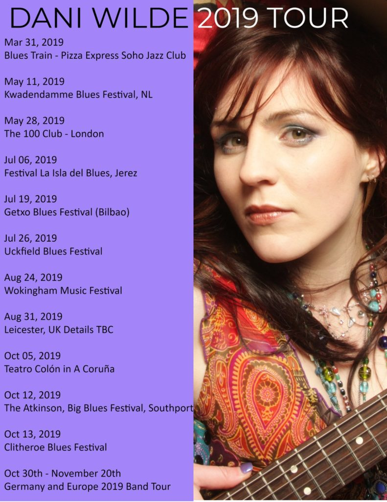image of poster for gigs for dani wilde in 2019