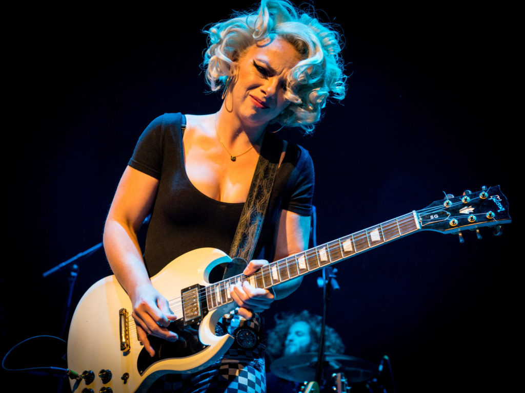 image of samantha fish on stage playing guitar by laurence harvey