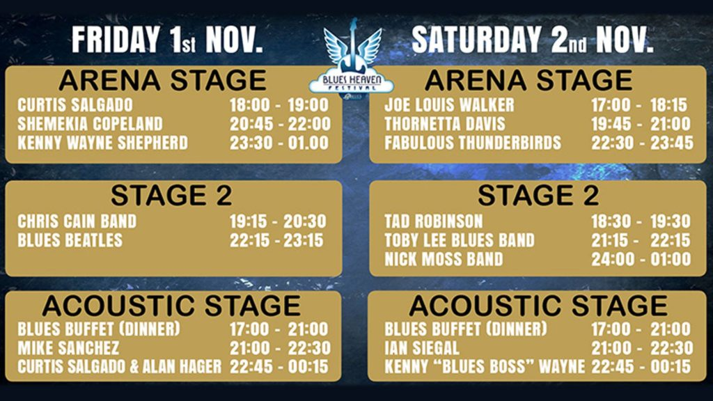 image of stage times for blues heaven festival in denmark in november