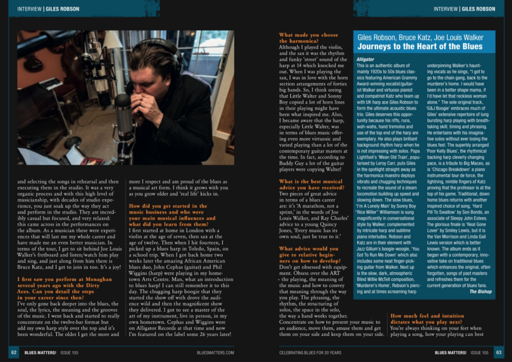 image of interview with giles robson in blues matters