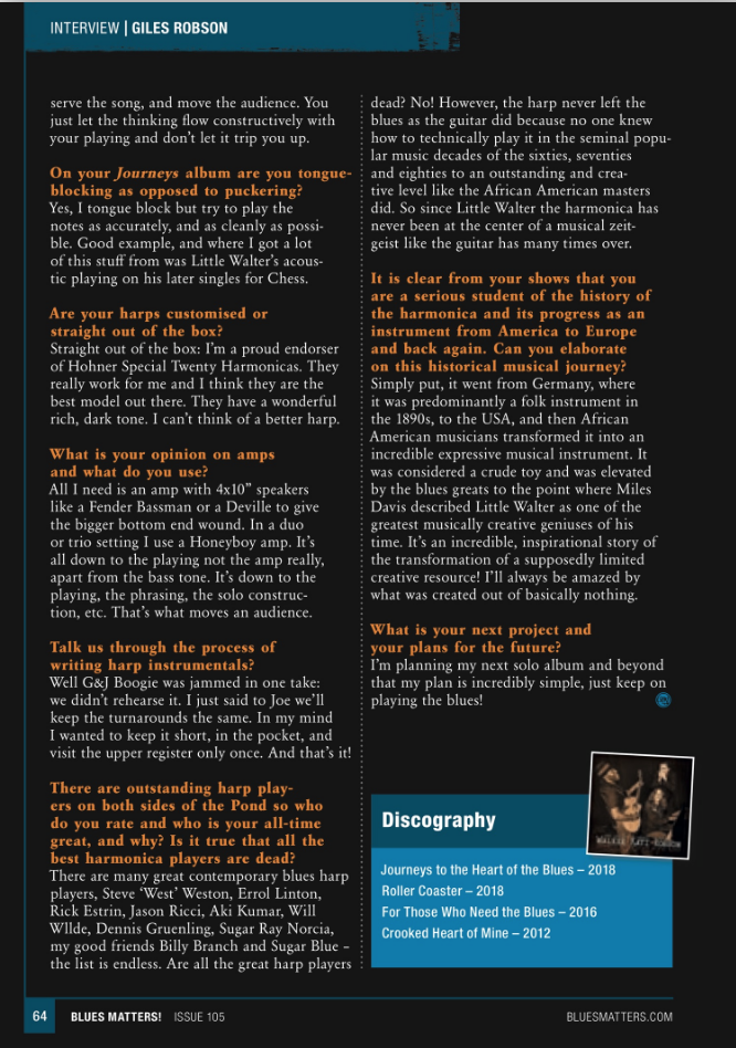 image of interview with giles robson in issue 105 of blues matters