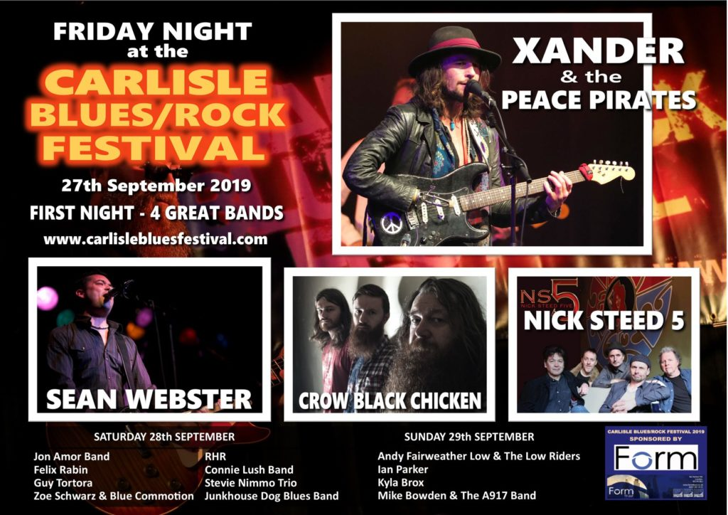 image of lineup for carlisle blues rock festival artists 2019