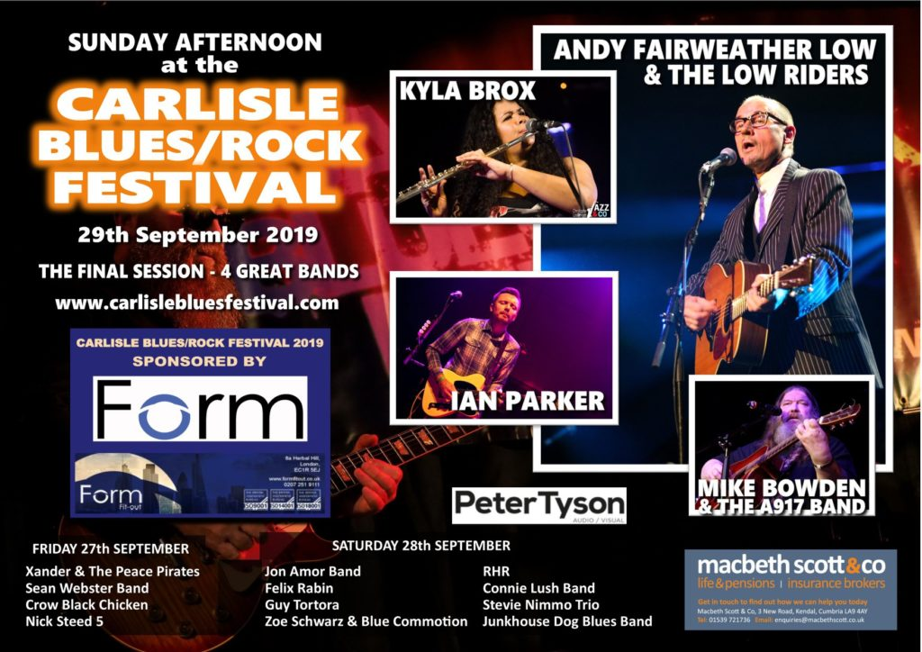 CARLISLE BLUES/ROCK FESTIVAL 27th - 29th September 2019