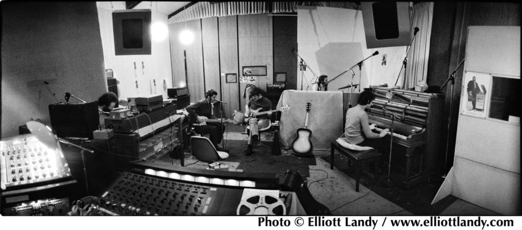 image of The Band, recording at Spencer Road, Woodstock, 1968