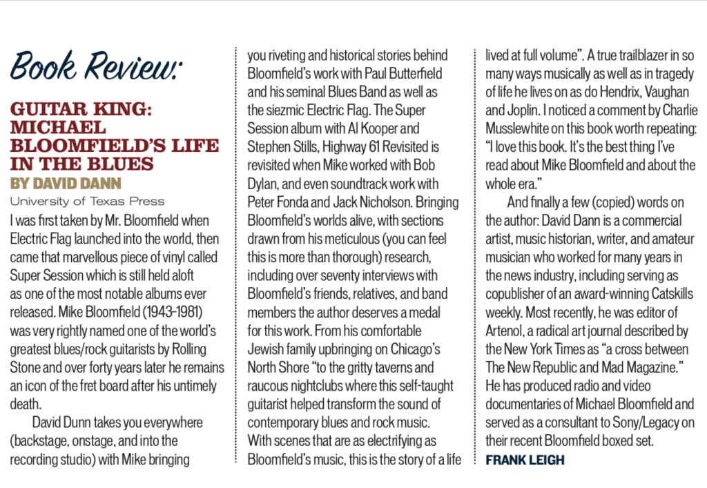 image of book review in blues matters magazine of guitar king michael bloomfields life in the blues by david dann