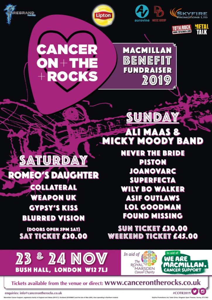 poster of bands at cancer on the rocks festival london