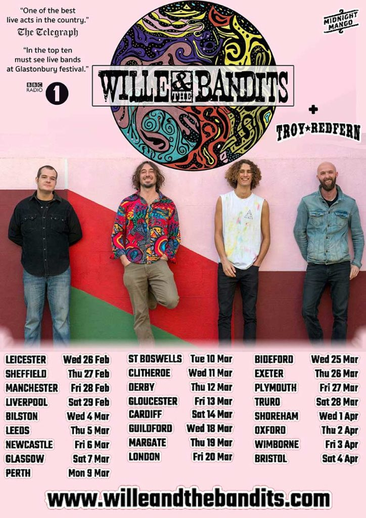 image of poster for wille and the bandits UK tour dates for 2020