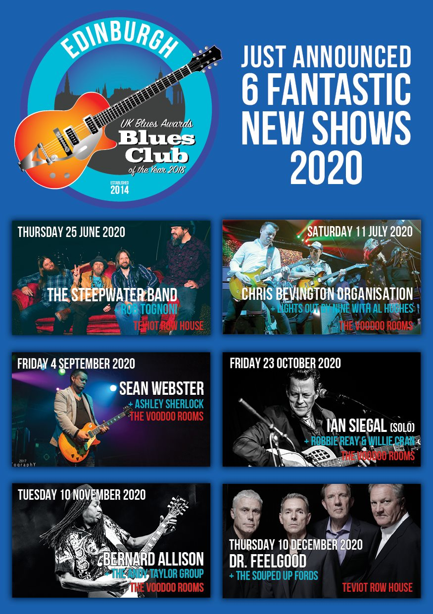 image of poster for edinburgh blues club 2020 gigs