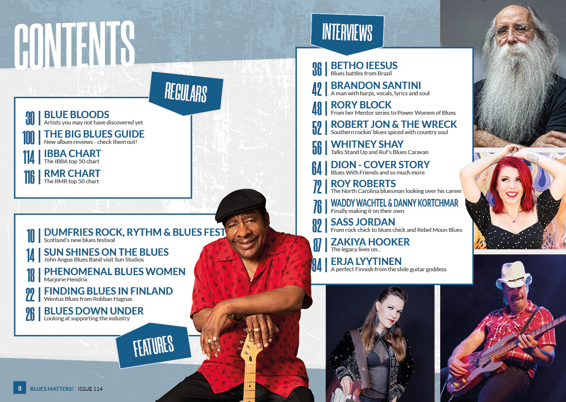 image for contents page of blues matters magazine issue 114