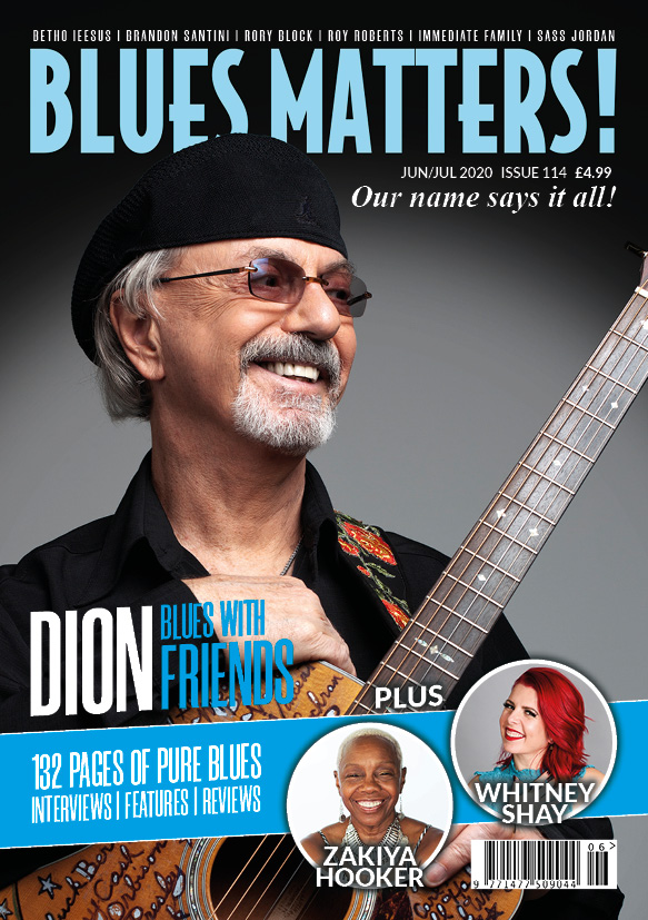 image of cover for blues matters magazine issue 114 with dion
