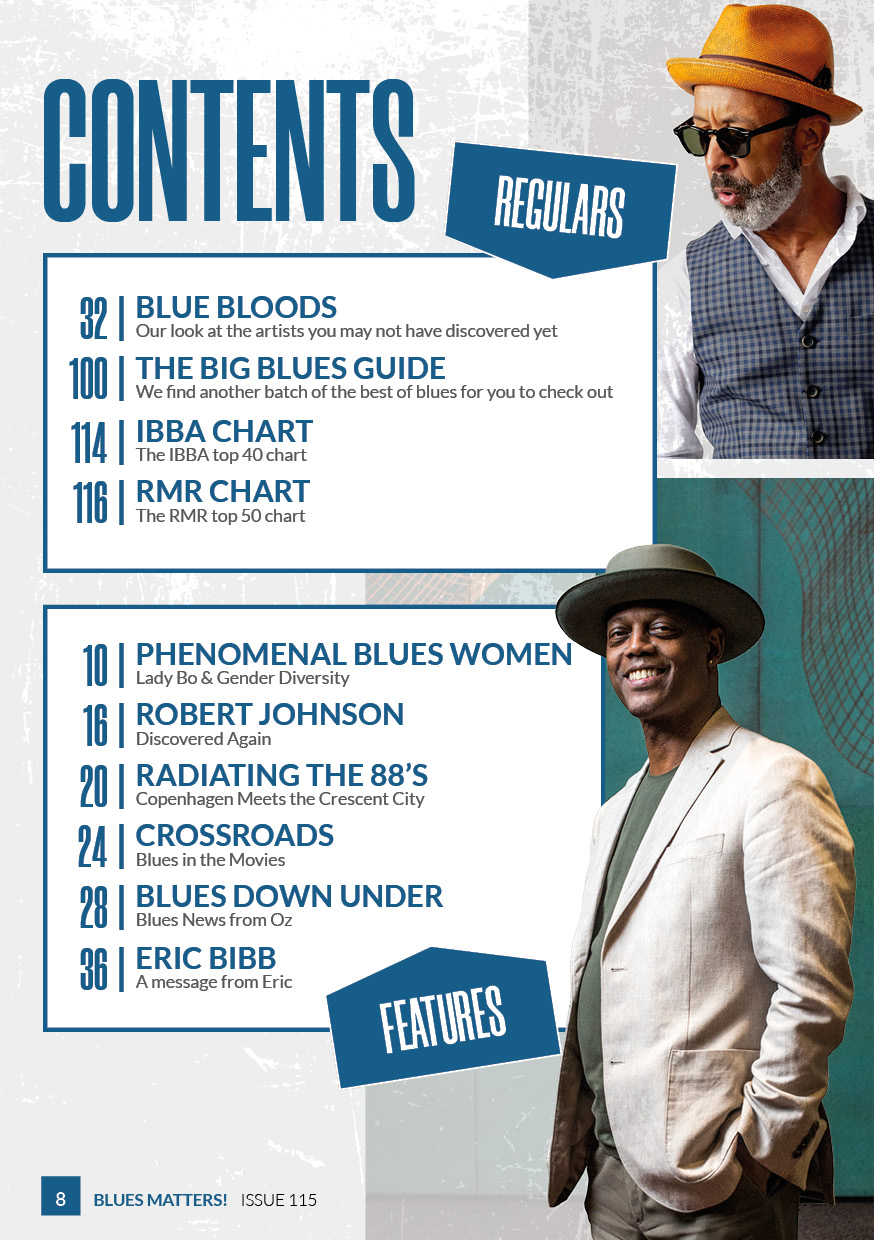 image of contents page in blues matters issue 115