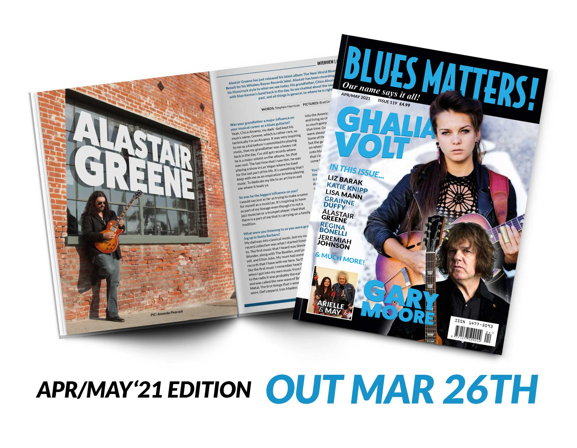 image of blues matters issue 115 with walter trout on cover and kat pearson inside