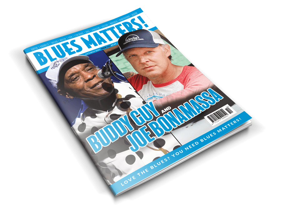 image of blues matters issue 115 with walter trout on cover and image of bobby rush inside